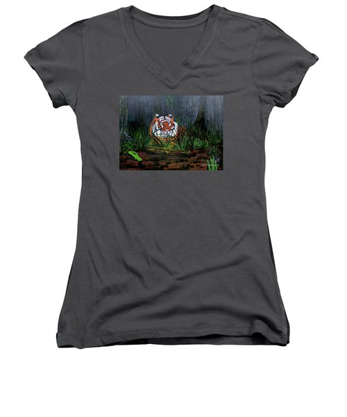 Jungle Cat Women's V-Neck T-Shirt (Junior Cut) by Myrna Walsh