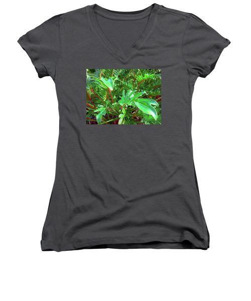 Jungle Greenery Women's V-Neck T-Shirt (Junior Cut) by Ginny Schmidt