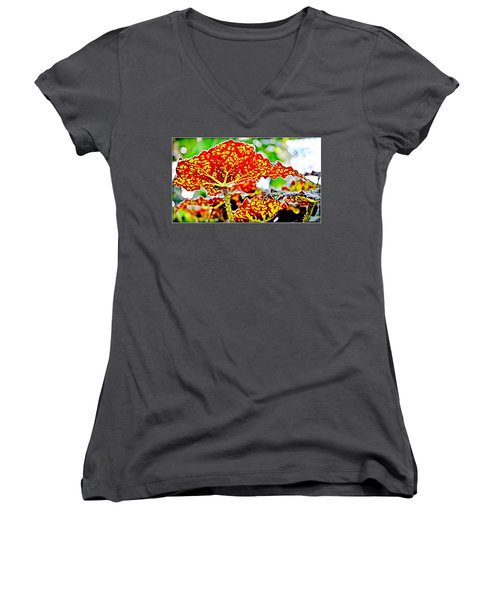 Women's V-Neck T-Shirt (Junior Cut) featuring the photograph Jungle Leaf by Mindy Newman