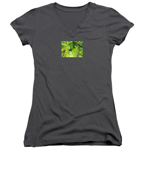 Women's V-Neck T-Shirt (Junior Cut) featuring the digital art Jungle Path by Jean Pacheco Ravinski