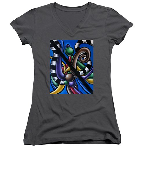 Original Colorful Abstract Art Painting - Multicolored Chromatic Artwork Women's V-Neck
