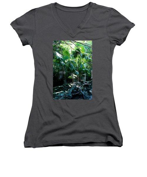 Jungle Sun  Women's V-Neck T-Shirt (Junior Cut) by Robert Nickologianis