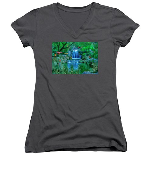 Jungle Water Falls And Parrots Women's V-Neck (Athletic Fit)