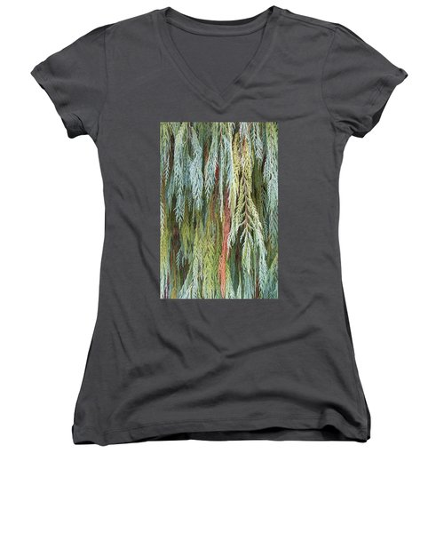 Women's V-Neck T-Shirt (Junior Cut) featuring the photograph Juniper Leaves - Shades Of Green by Ben and Raisa Gertsberg