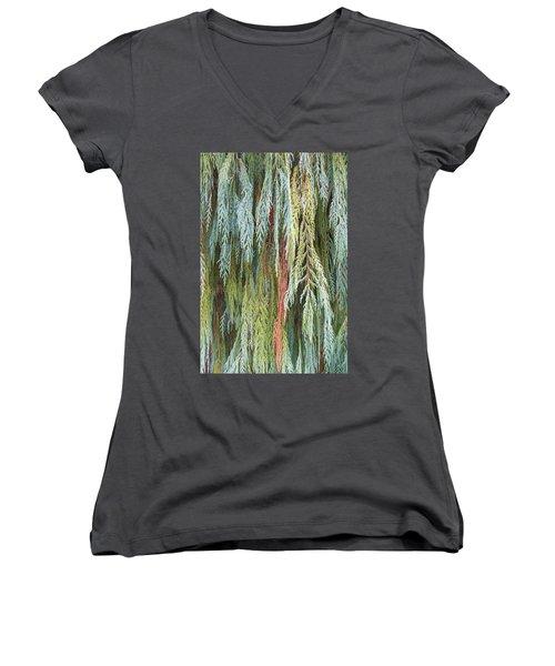 Juniper Leaves - Shades Of Green Women's V-Neck T-Shirt (Junior Cut) by Ben and Raisa Gertsberg