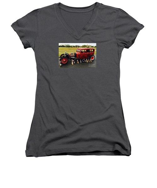 Women's V-Neck T-Shirt (Junior Cut) featuring the photograph Junk Yard Dawg - No.2015 by Joe Finney