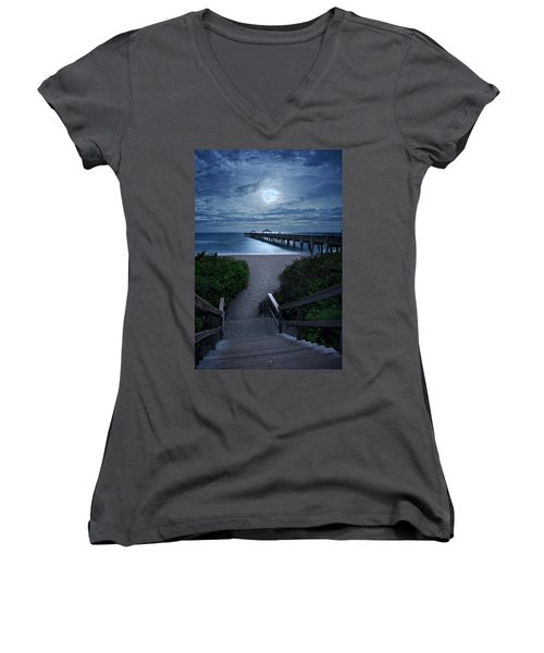 Juno Pier Stairs To Beach Under Full Moon Women's V-Neck