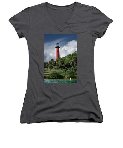 Jupiter Inlet Lighthouse Women's V-Neck T-Shirt (Junior Cut) by Laura Fasulo