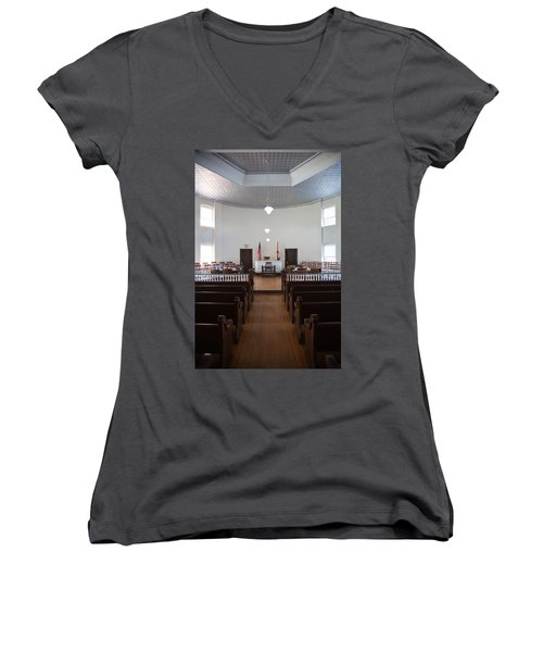 Jury Box In A Courthouse, Old Women's V-Neck T-Shirt (Junior Cut) by Panoramic Images