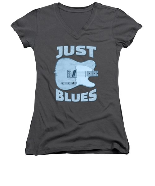 Just Blues Shirt Women's V-Neck T-Shirt (Junior Cut) by WB Johnston