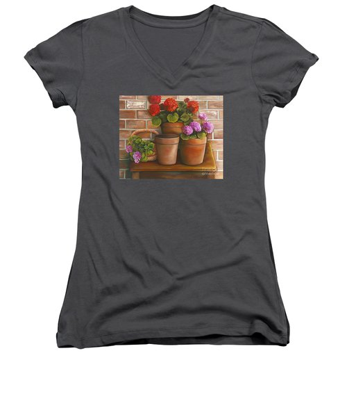 Women's V-Neck T-Shirt (Junior Cut) featuring the painting Just Geraniums by Marlene Book
