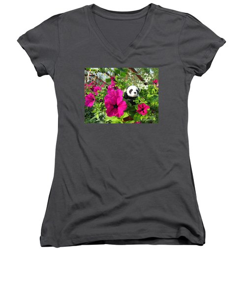 Women's V-Neck T-Shirt (Junior Cut) featuring the photograph Just Hanging In There by Ausra Huntington nee Paulauskaite