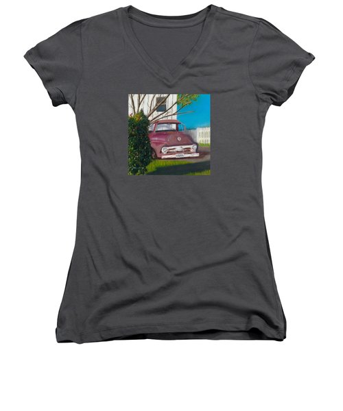 Women's V-Neck T-Shirt (Junior Cut) featuring the painting Just Up The Road by Arlene Crafton