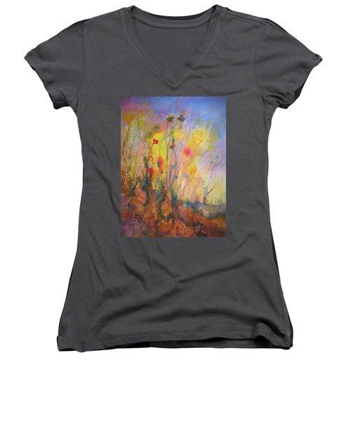 Just Weeds Women's V-Neck T-Shirt (Junior Cut) by Mary Schiros