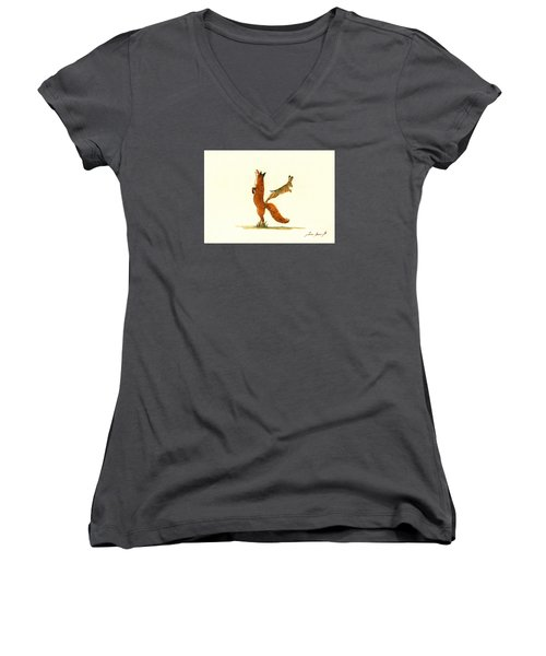 K Letter Woodland Alphabet Women's V-Neck T-Shirt (Junior Cut)