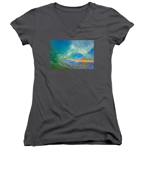 Kaanapali Wave Women's V-Neck T-Shirt (Junior Cut) by James Roemmling