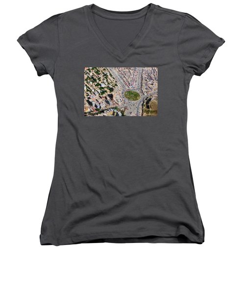 Kabul Traffic Circle Aerial Photo Women's V-Neck (Athletic Fit)