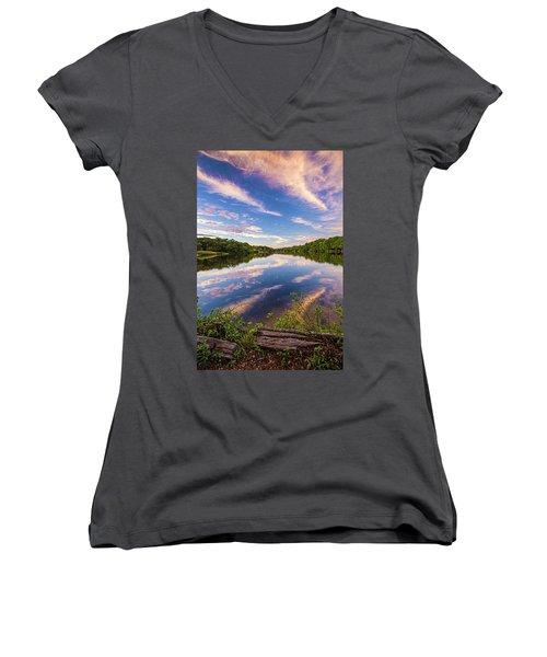 Kahler's Pond Clouds Women's V-Neck T-Shirt