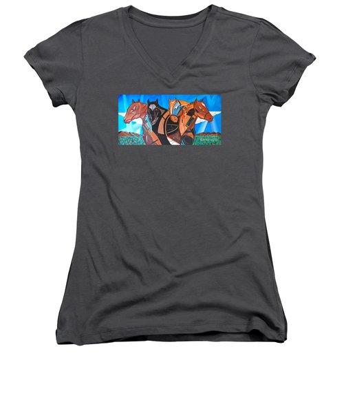Kaleden Spirit Horse Women's V-Neck (Athletic Fit)