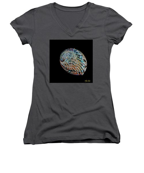 Women's V-Neck T-Shirt featuring the photograph Kaleidoscope Abalone by Rikk Flohr