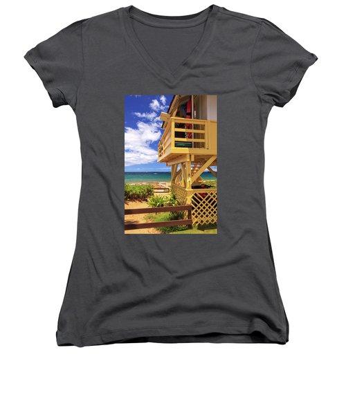 Kamaole Beach Lifeguard Tower Women's V-Neck T-Shirt (Junior Cut) by James Eddy