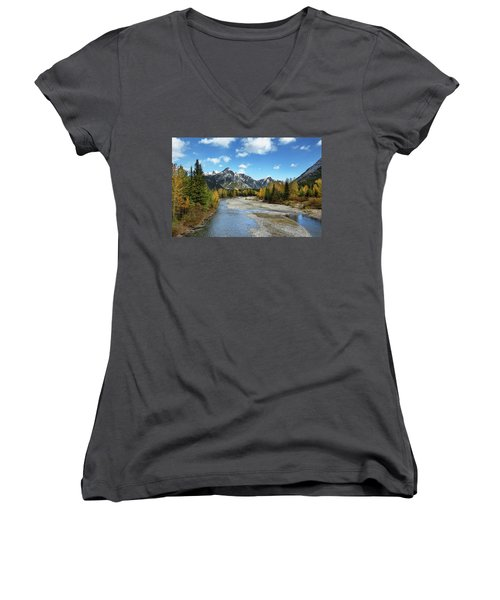 Kananaskis River In Fall Women's V-Neck (Athletic Fit)