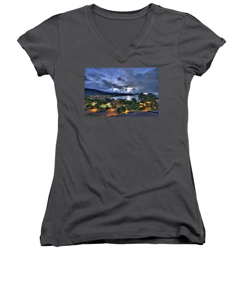 Kaneohe Bay Night Hdr Women's V-Neck (Athletic Fit)