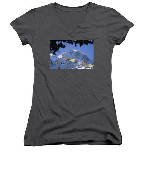 Kang Tega Nepal Women's V-Neck T-Shirt (Junior Cut) by Rudi Prott