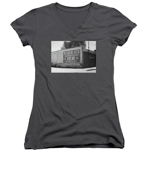 Women's V-Neck T-Shirt (Junior Cut) featuring the photograph Kansas City Ghost Mural Bw by Frank Romeo