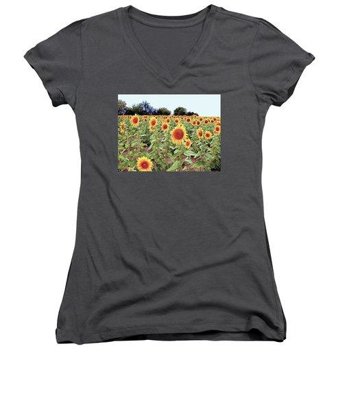 Kansas Sunflower Field Women's V-Neck T-Shirt