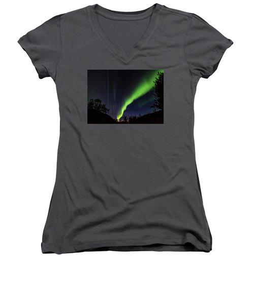 Kantishna Northern Lights In Denali National Park Women's V-Neck T-Shirt (Junior Cut) by Brenda Jacobs
