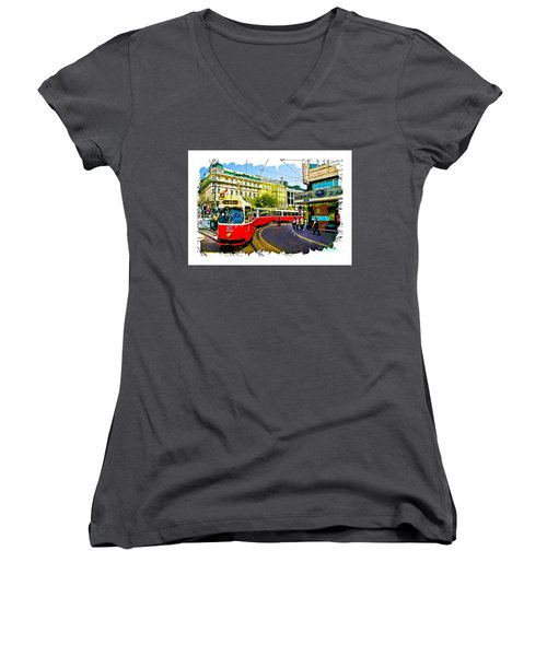 Women's V-Neck T-Shirt (Junior Cut) featuring the photograph Kartner Strasse - Vienna by Tom Cameron