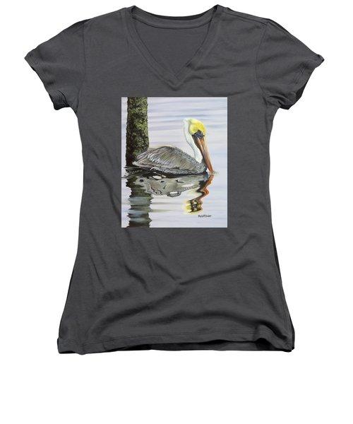Kathy's Pelican Women's V-Neck T-Shirt (Junior Cut) by Phyllis Beiser