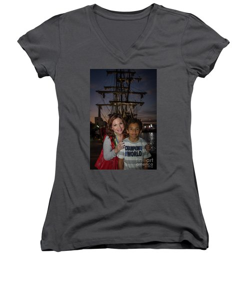 Women's V-Neck T-Shirt (Junior Cut) featuring the photograph Katy And Baby James Art by Reid Callaway