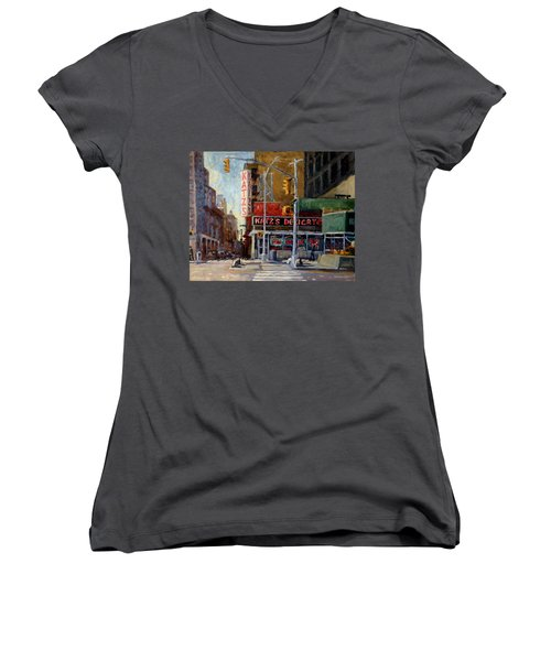 Katz's Delicatessen, New York City Women's V-Neck (Athletic Fit)