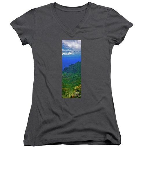 Kauai  Napali Coast State Wilderness Park Women's V-Neck T-Shirt (Junior Cut) by Tom Jelen