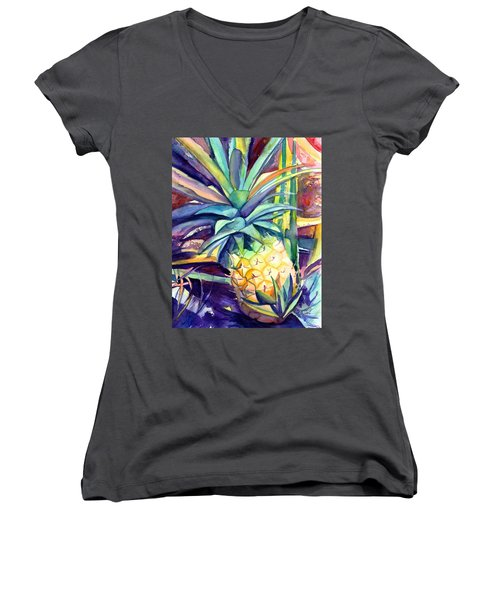 Kauai Pineapple 4 Women's V-Neck T-Shirt