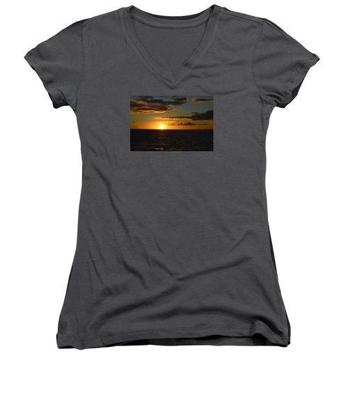 Women's V-Neck T-Shirt (Junior Cut) featuring the photograph Kauai Sunset by James McAdams
