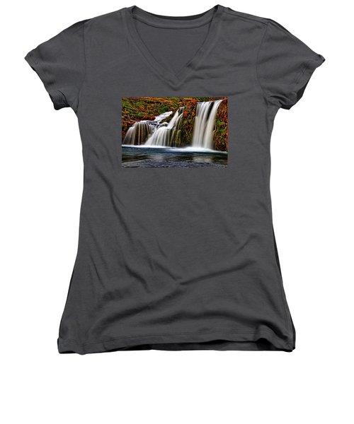 Women's V-Neck T-Shirt (Junior Cut) featuring the photograph Kay Falls by Scott Mahon