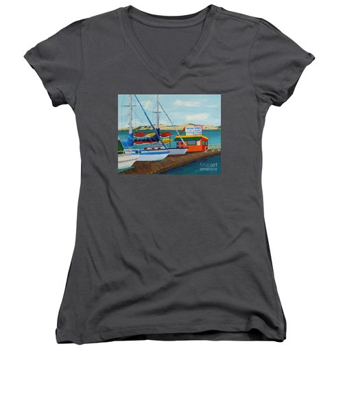Women's V-Neck T-Shirt (Junior Cut) featuring the painting Kayak Shack Morro Bay California by Katherine Young-Beck