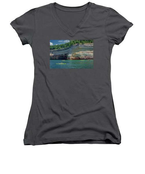 Kayaking The Pictured Rocks Women's V-Neck T-Shirt