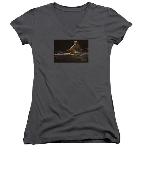 Kayaking With Your Best Friend Women's V-Neck T-Shirt (Junior Cut) by Laurie Tietjen
