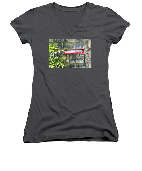 Women's V-Neck T-Shirt (Junior Cut) featuring the digital art Keep To The Right by Barbara S Nickerson