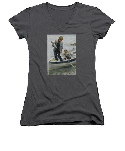 Keeping Her Off Women's V-Neck T-Shirt
