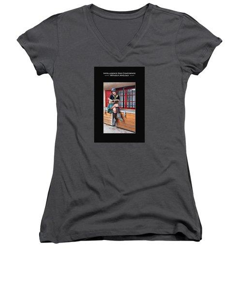 Kellie Peach 2-45 Women's V-Neck T-Shirt (Junior Cut) by David Miller