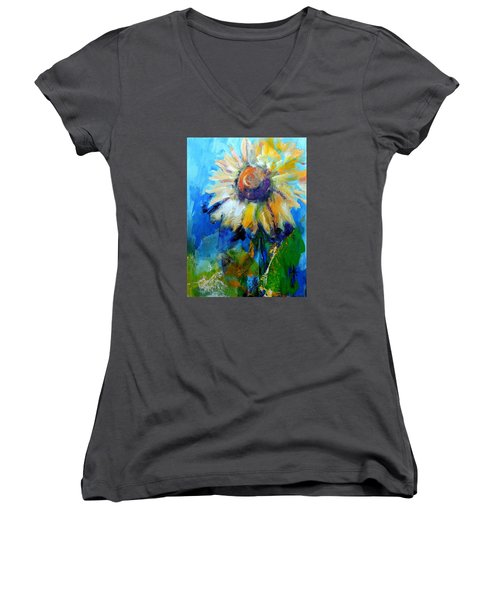Kellie's Sunflower Women's V-Neck T-Shirt (Junior Cut) by Jodie Marie Anne Richardson Traugott          aka jm-ART