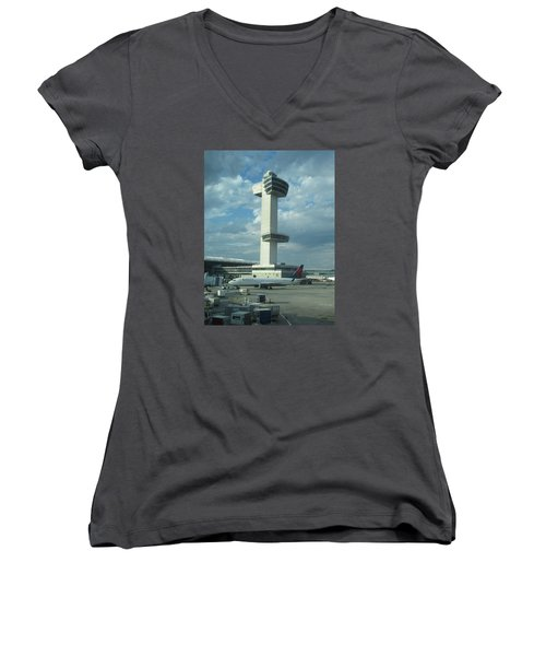 Kennedy Airport Control Tower Women's V-Neck T-Shirt (Junior Cut) by Christopher Kirby