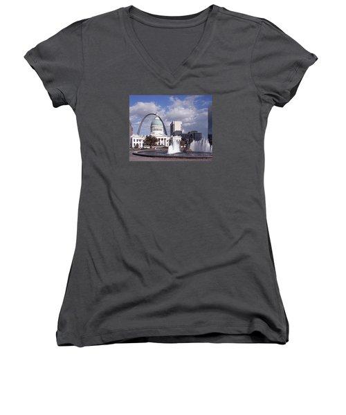 Women's V-Neck T-Shirt (Junior Cut) featuring the photograph Kiener Plaza - St Louis by Harold Rau