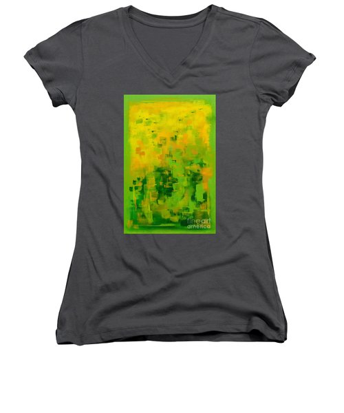Women's V-Neck T-Shirt (Junior Cut) featuring the painting Kenny's Room by Holly Carmichael