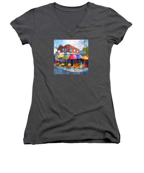 Kensington Market Women's V-Neck T-Shirt (Junior Cut) by Diane Arlitt